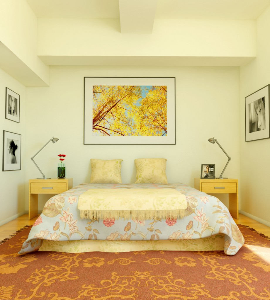 Yellow Color Small Bedroom Decor