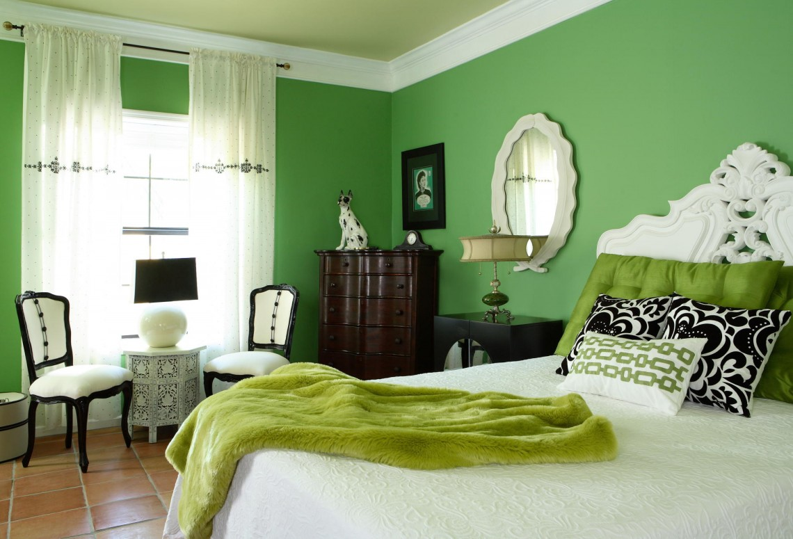 monochromatic interior design with adorable green wall paint room